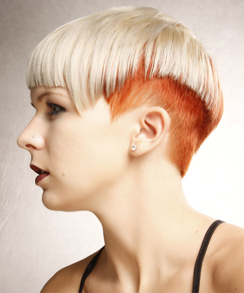 Short Straight Alternative  Asymmetrical  Hairstyle with Blunt Cut Bangs  - Light Ginger Blonde and Light Red Two-Tone Hair Color - Side View