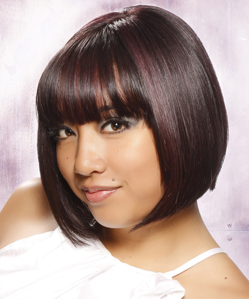 Short Straight Formal Bob  Hairstyle with Blunt Cut Bangs  - Dark Brunette - Side View