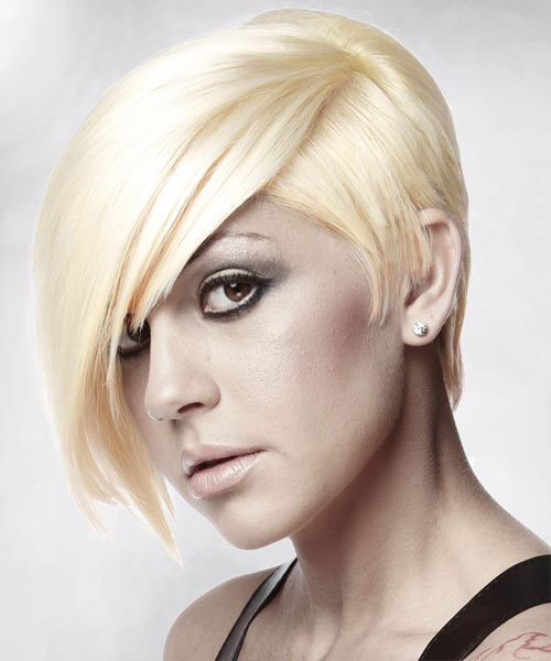 Short Straight Alternative   Hairstyle with Side Swept Bangs  - Light Blonde (Platinum) - Side View