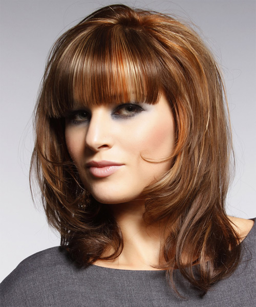 Medium Straight    Copper Brunette   Hairstyle with Blunt Cut Bangs  and Light Blonde Highlights - Side View
