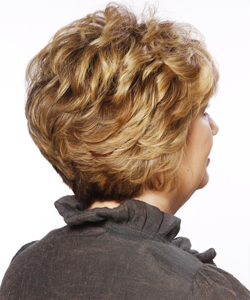 Short Straight   Dark Caramel Blonde   Hairstyle with Layered Bangs  and Light Blonde Highlights - Side View