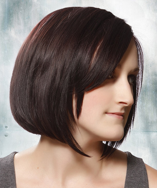 Medium Straight Layered  Dark Plum Brunette Bob  Haircut   with Dark Red Highlights - Side View