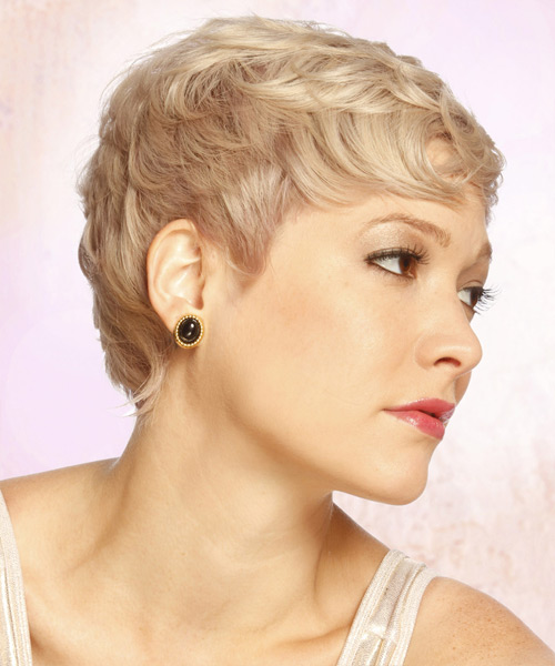 Short Straight Formal   Hairstyle with Layered Bangs  - Light Blonde (Strawberry) - Side View