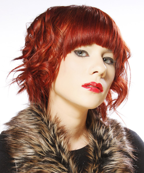 Medium Wavy Alternative    Hairstyle with Blunt Cut Bangs  - Dark Bright Red Hair Color - Side View