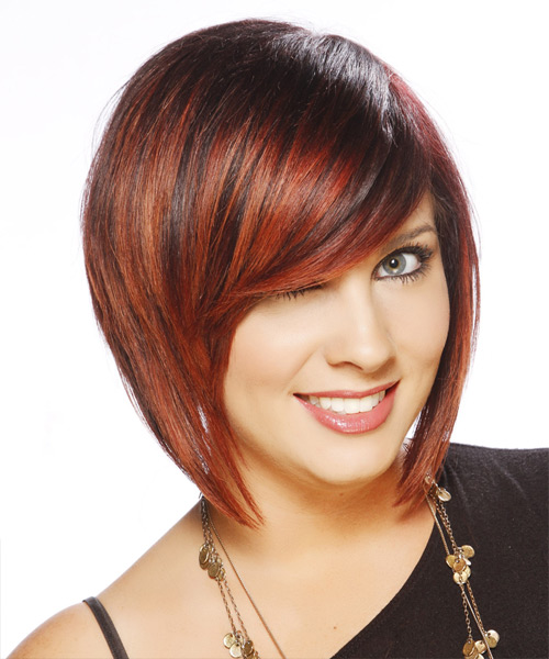 Short Straight Casual Bob  Hairstyle with Side Swept Bangs  - Dark Red - Side View