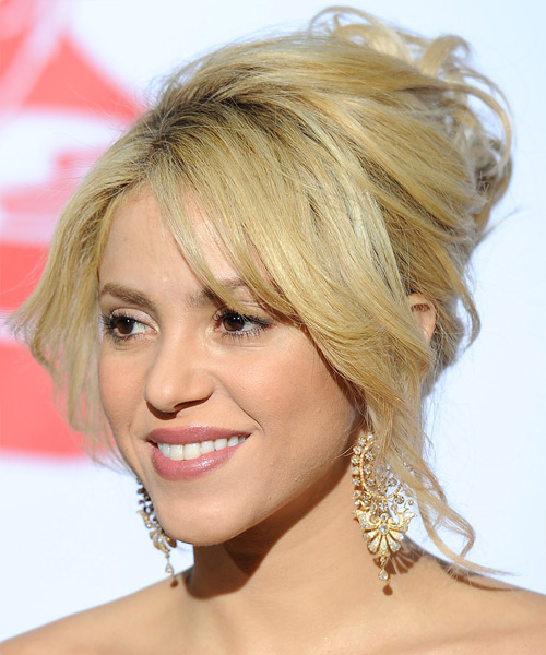 Shakira  Long Straight Formal   Updo Hairstyle with Layered Bangs  - Light Golden Blonde Hair Color - Side View