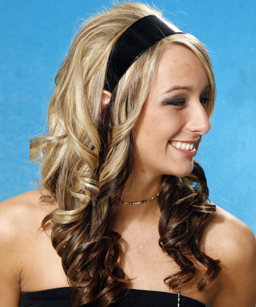 Long Curly Formal    Hairstyle   -  Blonde and Dark Brunette Two-Tone Hair Color - Side View