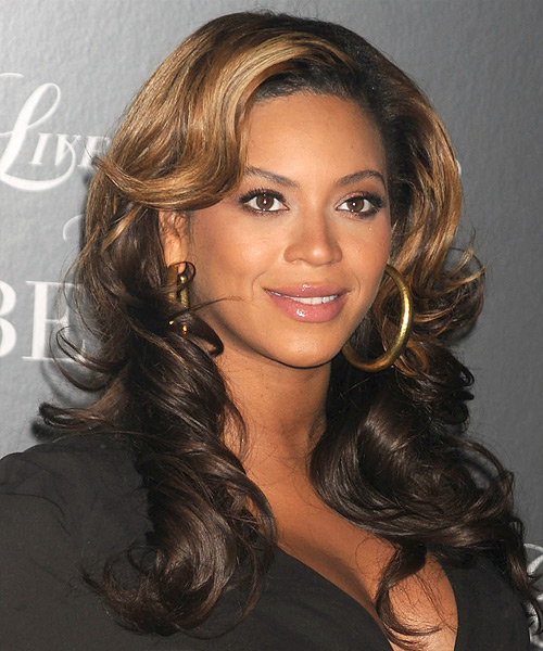 Beyonce Knowles Long Wavy Formal    Hairstyle   - Dark Brunette and Dark Blonde Two-Tone Hair Color - Side View