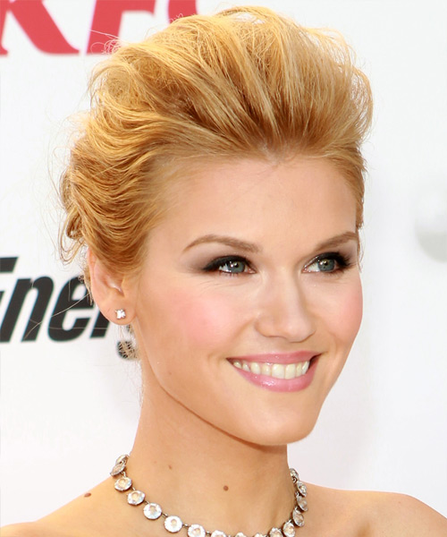 Emily Rose  Long Straight Formal   Updo Hairstyle   - Medium Golden Blonde Hair Color with Light Blonde Highlights - Side View