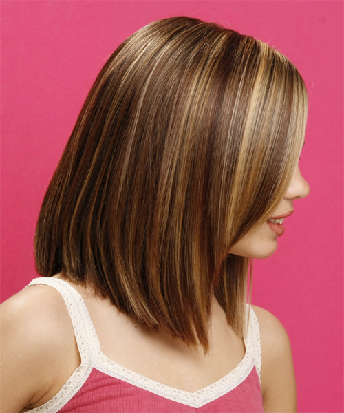 Long Straight Chestnut Brunette Hairstyle With Light