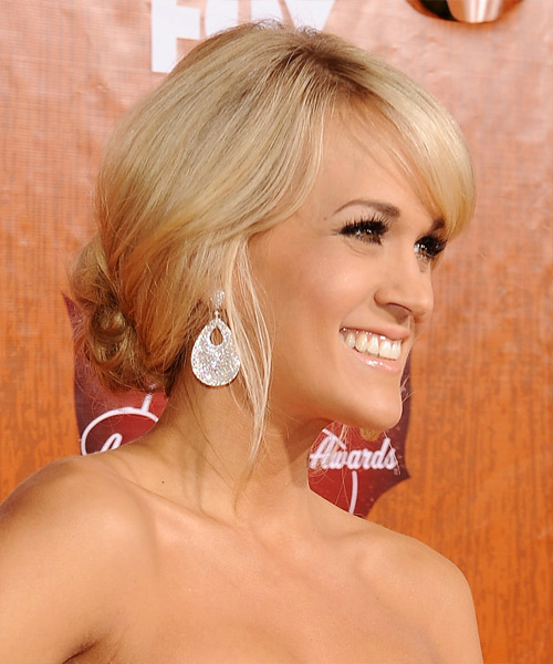Carrie Underwood  Long Straight Formal   Updo Hairstyle with Side Swept Bangs  - Light Honey Blonde Hair Color with Light Blonde Highlights - Side View
