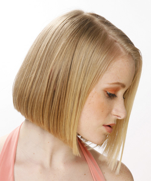 Medium Straight    Honey Blonde   Hairstyle   - Side View