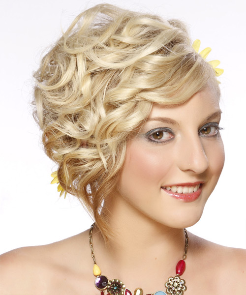 Medium Curly Formal   Updo Hairstyle   - Light Golden Blonde Hair Color with Light Blonde Highlights - Side View