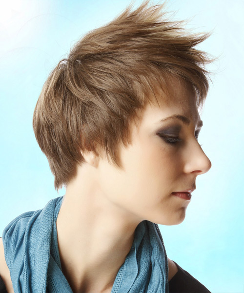 Short Straight Casual Layered Pixie  Hairstyle with Layered Bangs  - Light Brunette Hair Color with Light Blonde Highlights - Side View