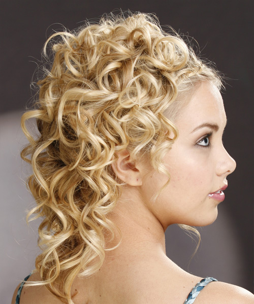 Long Curly Formal   Updo Hairstyle   - Light Honey Blonde Hair Color - Side View