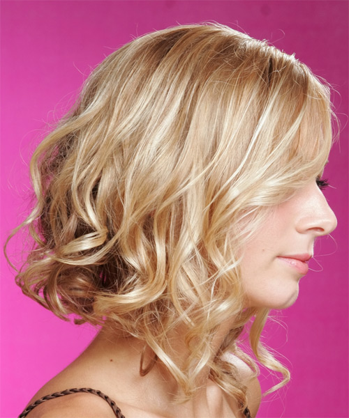 Long Wavy Formal    Hairstyle   - Light Golden Blonde Hair Color - Side View