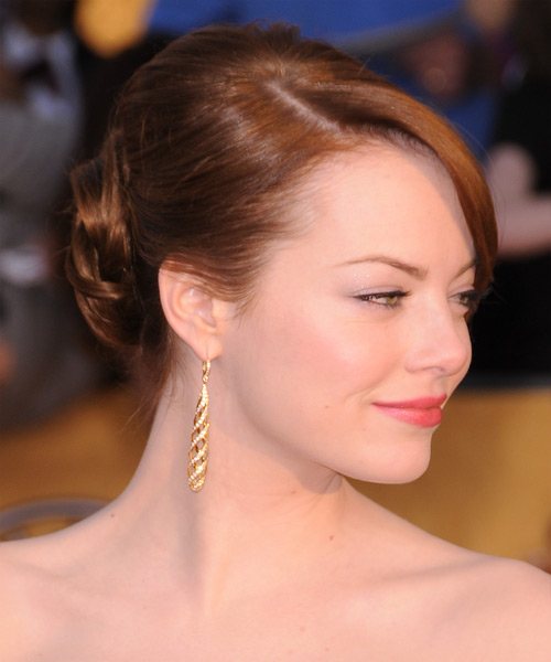 Emma Stone  Long Straight Formal   Updo Hairstyle with Side Swept Bangs  -  Ginger Red Hair Color - Side View