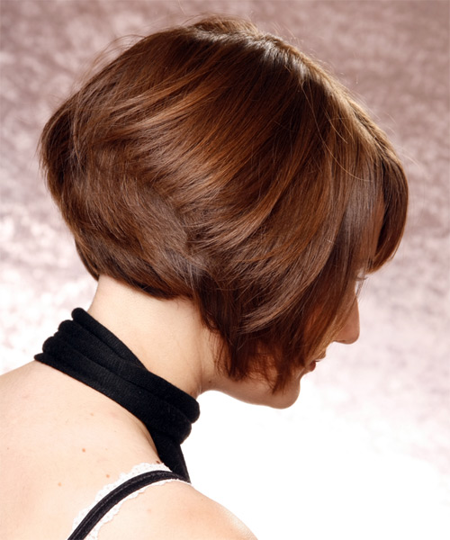 Short Straight   Chestnut Bob  Haircut   - Side View