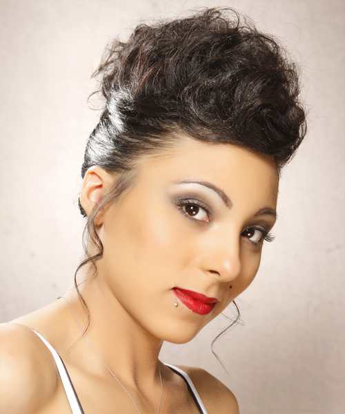 Long Curly Formal   Updo Hairstyle   - Mocha Hair Color - Side View