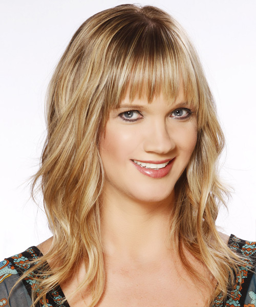 Long Wavy Casual   Hairstyle with Layered Bangs  - Medium Blonde (Golden) - Side View