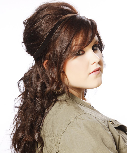 Updo Long Curly Casual  Updo Hairstyle with Side Swept Bangs  - Medium Brunette (Mahogany) - Side View