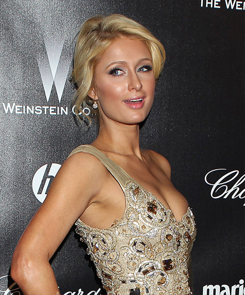 Paris Hilton Updo Long Straight Casual  Updo Hairstyle   - Light Blonde (Golden) - Side View