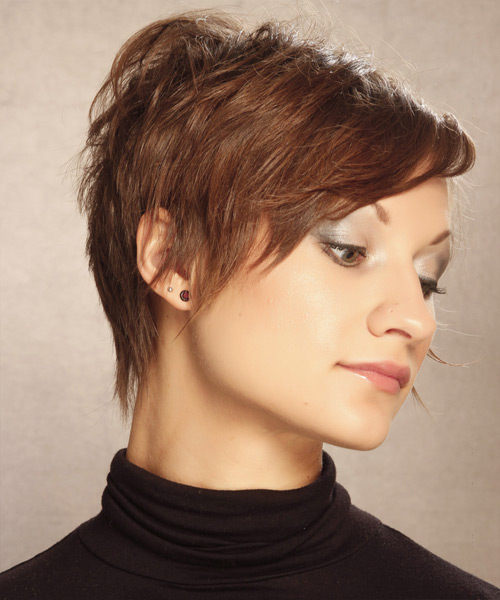 Short Straight   Light Caramel Brunette   Hairstyle   - Side View
