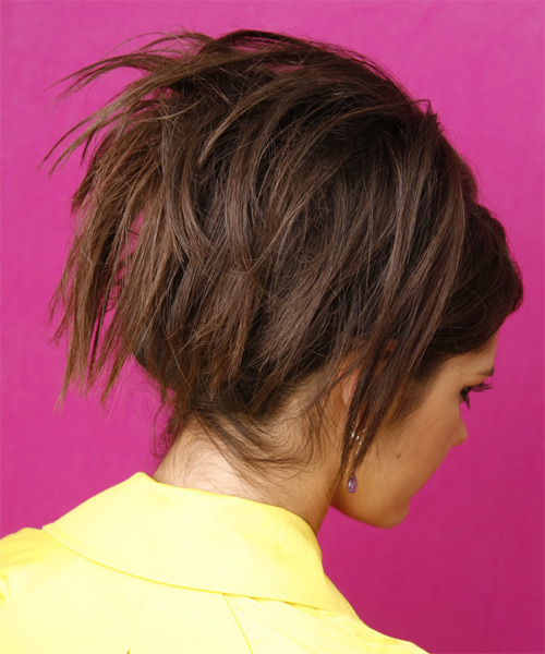 Long Straight    Chocolate Brunette  Updo  with Side Swept Bangs  - Side View