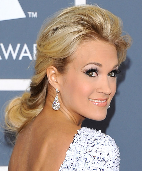 Carrie Underwood  Long Straight Formal   Updo Hairstyle   -  Golden Blonde Hair Color - Side View
