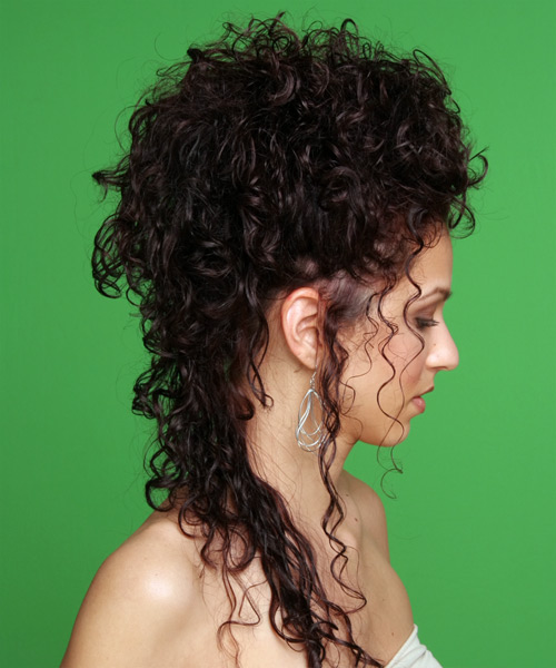 Updo Long Curly Formal Wedding Updo Hairstyle   - Dark Brunette - Side View