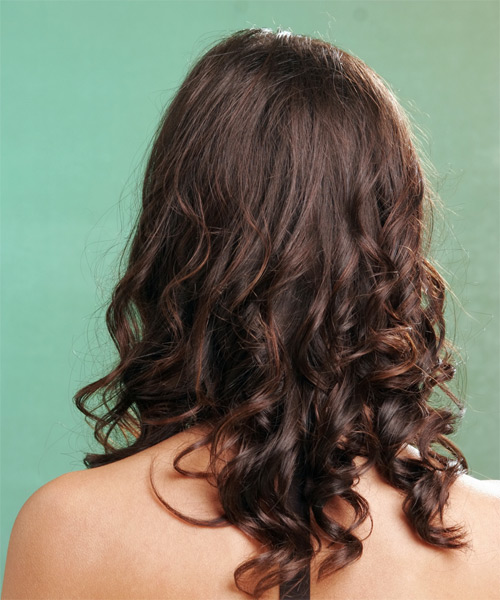 Long Wavy   Mocha   Hairstyle   - Side View