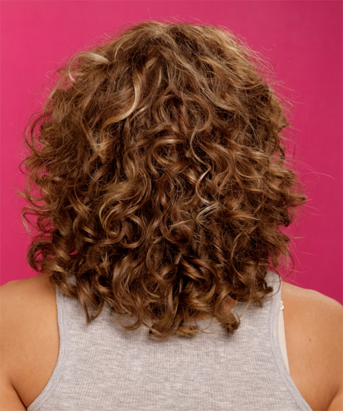 Medium Curly Formal    Hairstyle   -  Chestnut Brunette Hair Color - Side View