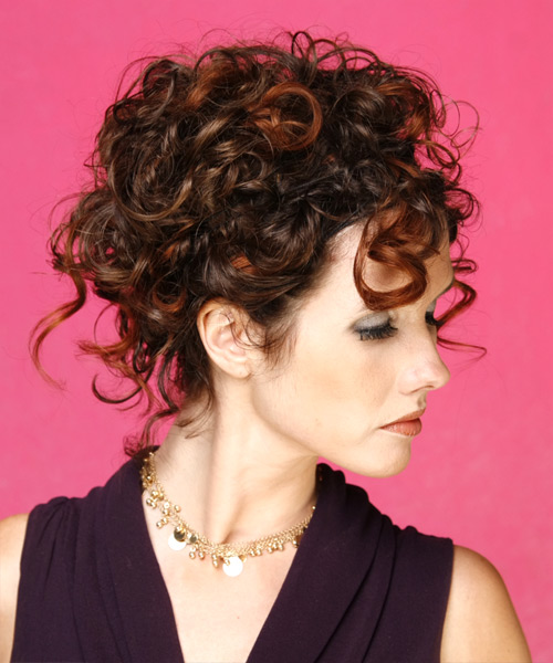 Long Curly Formal   Updo Hairstyle   -  Mahogany Brunette Hair Color - Side View