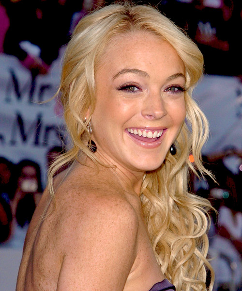 Lindsay Lohan Half Up Long Curly Formal  Half Up Hairstyle   - Side View