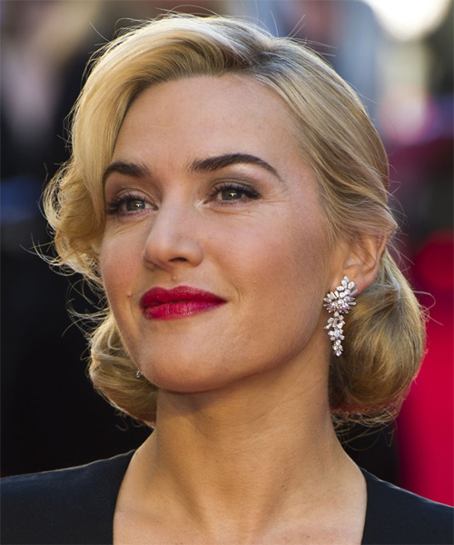 Kate Winslet Updo Medium Curly Formal Wedding Updo Hairstyle   - Medium Blonde (Golden) - Side View