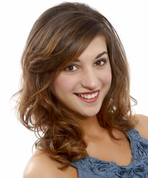Medium Wavy Casual   Hairstyle with Side Swept Bangs  - Medium Brunette (Chestnut) - Side View