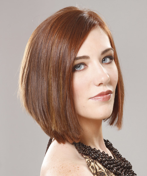 Medium Straight    Chestnut Brunette Bob  Haircut with Side Swept Bangs  - Side View
