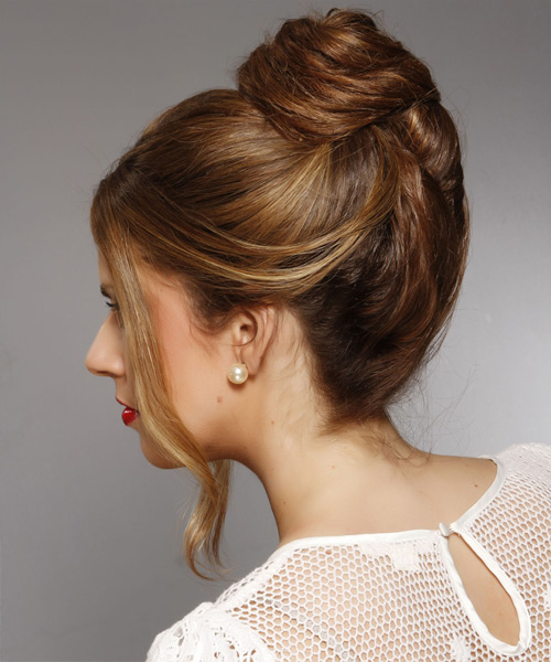 Long Straight Casual   Updo Hairstyle   - Dark Brunette Hair Color with  Brunette Highlights - Side View