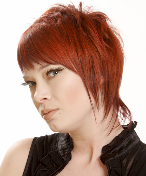 Short Straight Casual    Hairstyle with Razor Cut Bangs  -  Bright Red Hair Color - Side View