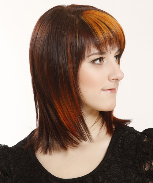 Medium Straight    Copper Brunette   Hairstyle with Razor Cut Bangs  and Orange Highlights - Side View