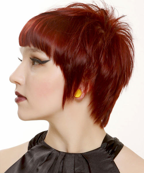 Short Straight Casual   Hairstyle with Blunt Cut Bangs  - Dark Red (Bright) - Side View