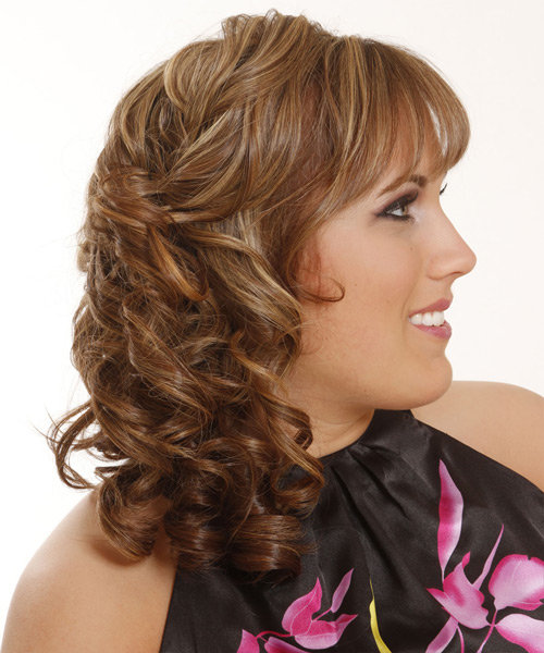 Long Curly Formal   Half Up Hairstyle with Blunt Cut Bangs  - Dark Caramel Blonde Hair Color with Light Blonde Highlights - Side View
