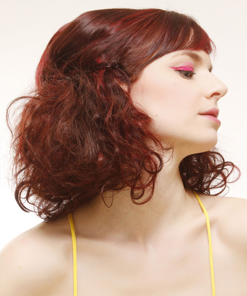 Medium Curly Casual   Half Up Hairstyle with Side Swept Bangs  -  Red Hair Color with Light Red Highlights - Side View