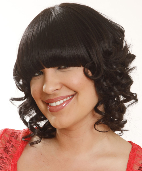 Medium Curly Formal   Hairstyle with Blunt Cut Bangs  - Black - Side View