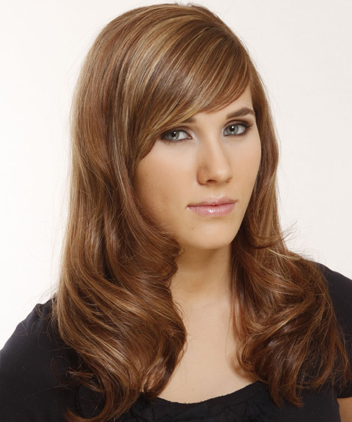 Long Straight   Light Brunette   Hairstyle with Side Swept Bangs  and  Blonde Highlights - Side View