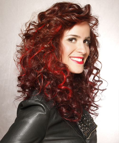 Long Curly Casual    Hairstyle   -  Chocolate Red Hair Color with Light Red Highlights - Side View