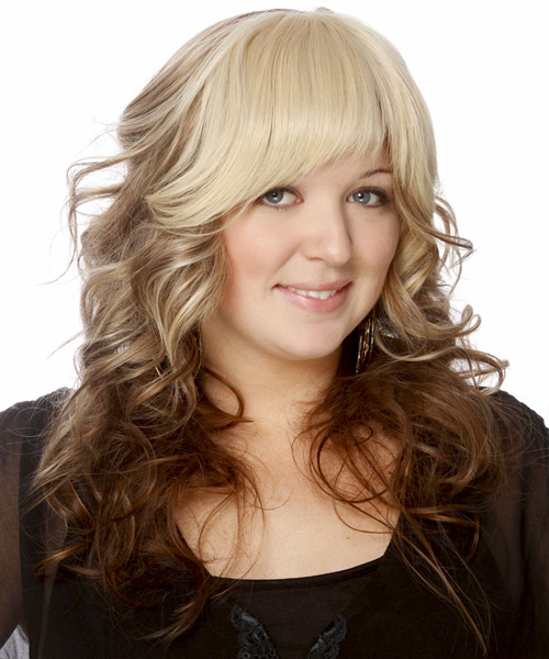 Long Wavy   Light Blonde and  Brunette Two-Tone   Hairstyle with Layered Bangs  - Side View
