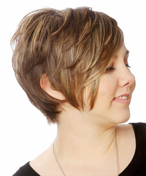 Short Straight Casual    Hairstyle   -  Chocolate Brunette Hair Color with Light Blonde Highlights - Side View