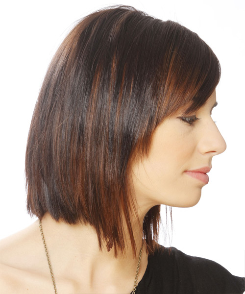 Short Straight Formal   Hairstyle with Side Swept Bangs  - Medium Brunette (Chocolate) - Side View