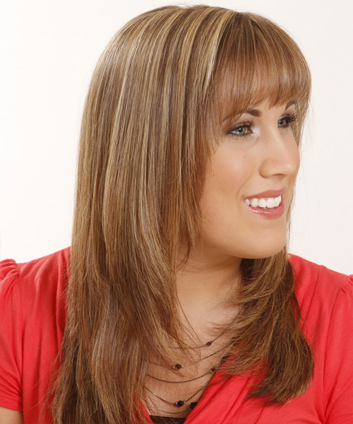 Long Straight   Light Copper Brunette   Hairstyle with Layered Bangs  and  Blonde Highlights - Side View